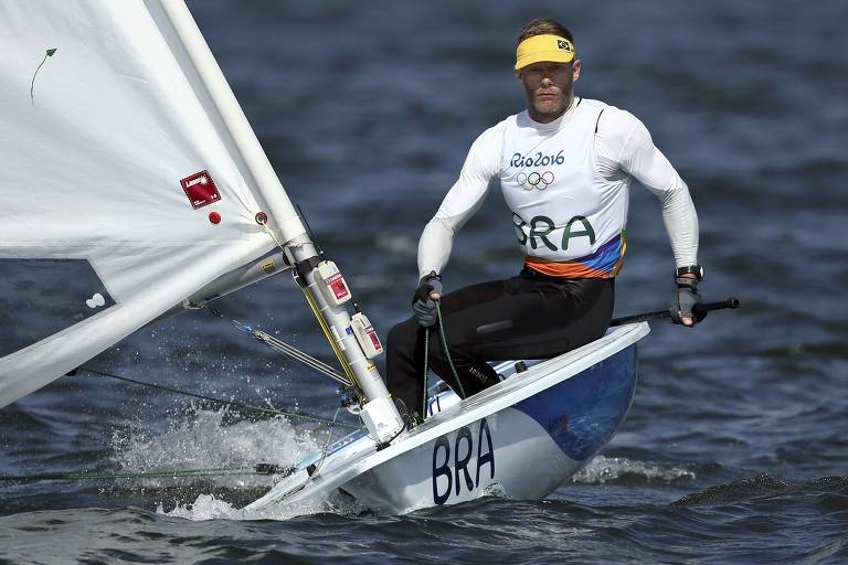 Robert Scheidt veleja na final olímpica da classe Laser em 2016