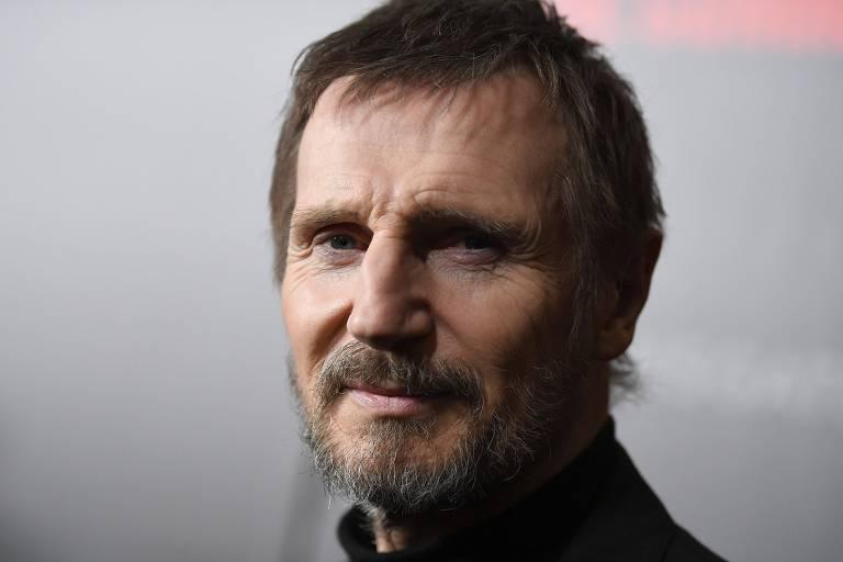 """O ator Liam Neeson durante a estreia de """"O Passageiro"""", em Nova York"""