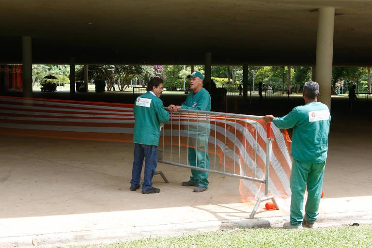 Trechos da marquise do Ibirapuera são isolados para manutenção