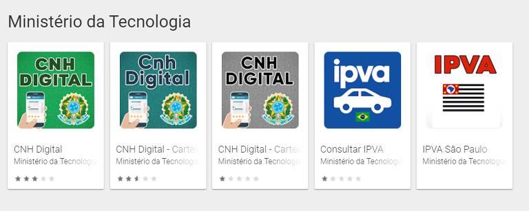 """São exibidos os ícones dos cinco aplicativos maliciosos, três com nomes começando com """"CNH Digital"""", um chamado """"Consultar IPVA"""" e o último com o nome """"IPVA São Paulo"""", todos oferecidos pelo suposto """"Ministério da Tecnologia""""."""