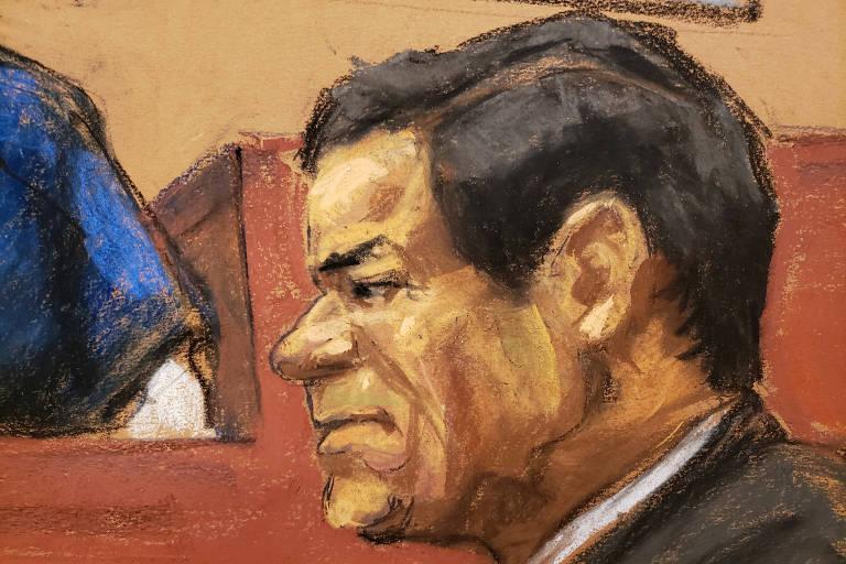 Desenho do traficante Joaquin 'El Chapo' Gusman durante seu julgamento em Nova York