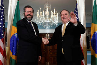 Secretary of State Mike Pompeo meets with Brazilian Foreign Minister Ernesto Araujo in Washington