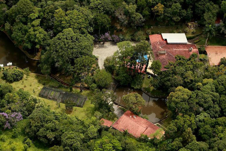 Vista aérea do sítio frequentado pelo ex-presidente Luiz Inácio Lula da Silva na cidade de Atibaia, no interior de São Paulo.