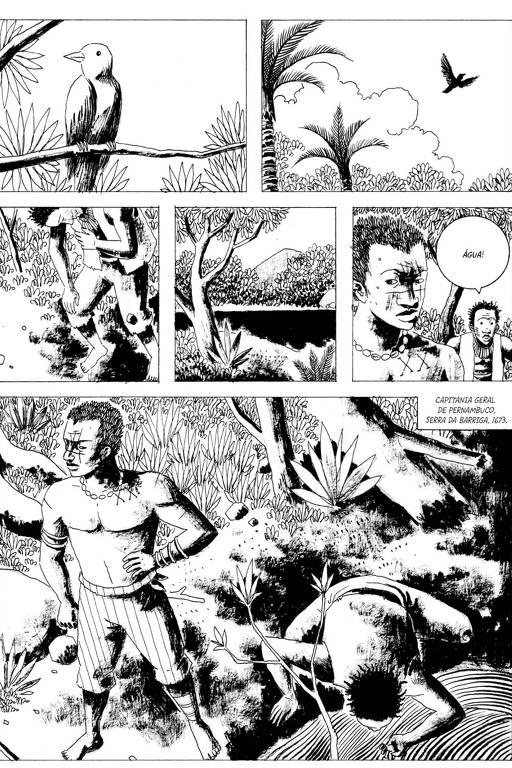 Imagens da HQ Angola Janga, de Marcelo D'Salete integra a mostra Quadrinhos no MIS