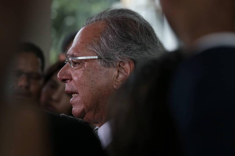 Ministro da Economia, Paulo Guedes durante coletiva de imprensa