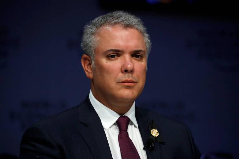O presidente da Colômbia, Ivan Duque, em Davos, na Suíça