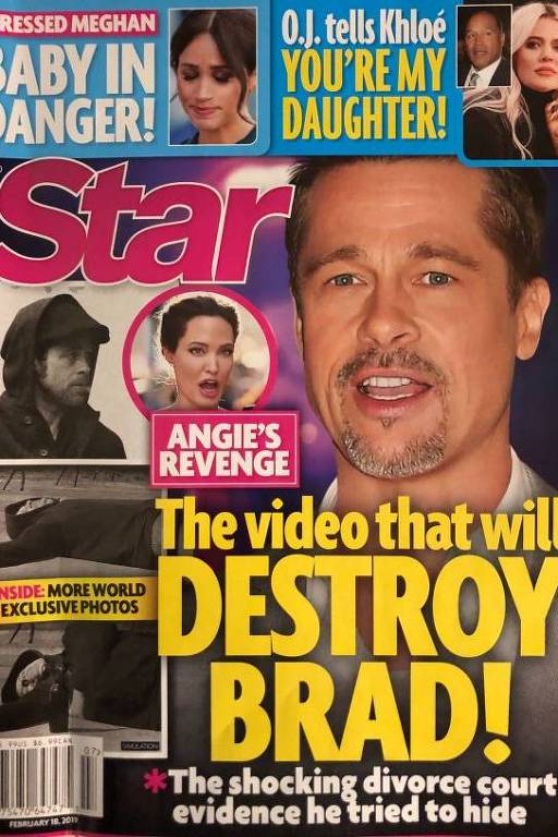 Capa do tabloide Star, que publicou notícia falsa sobre Brad Pitt