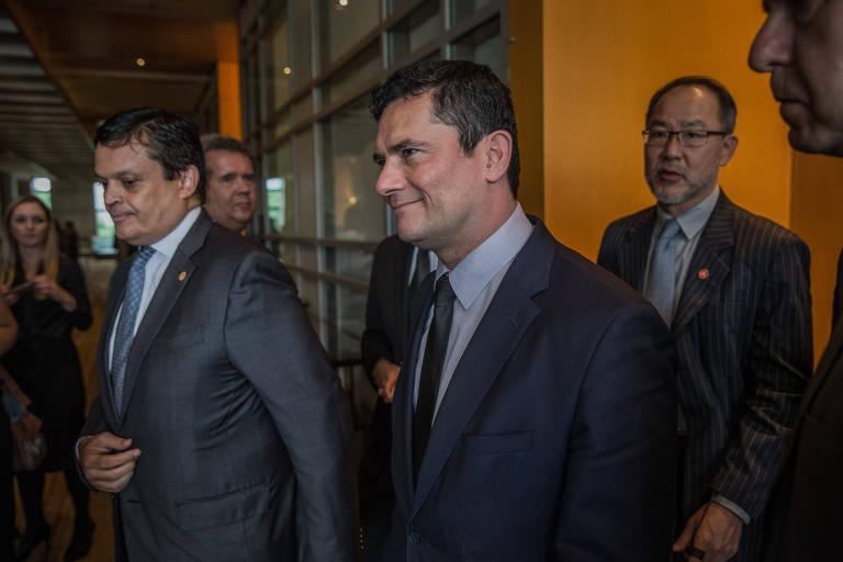 O ministro da Justiça e Segurança Pública, Sergio Moro, em almoço com advogados em São Paulo