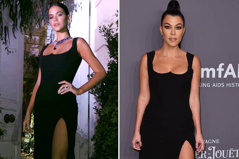Montagem com fotos de Kourtney Kardashian e Bruna Marquezine