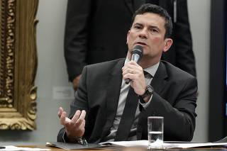 O ministro Sergio Moro em reunião com parlamentares