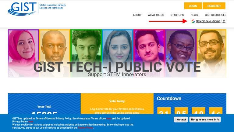 Site do Global Innovation Through Science and Technology para votação de concurso do qual o Livox, iniciativa que integra a Rede Folha de Empreendedores Socioambientais, participa