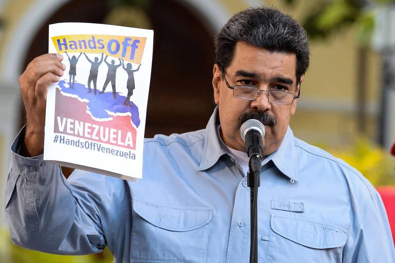 O ditador venezuelano Nicolás Maduro durante discurso nesta quinta (7), em Caracas, quando criticou a possibilidade de uma intervenção americana no país