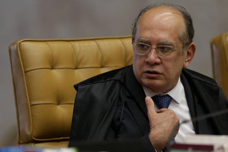 O ministro Gilmar Mendes durante sessão plenária do STF