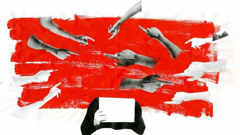 dedos apontados sobre fundo vermelho