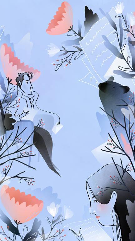 ilustração em azul, preto e rosa
