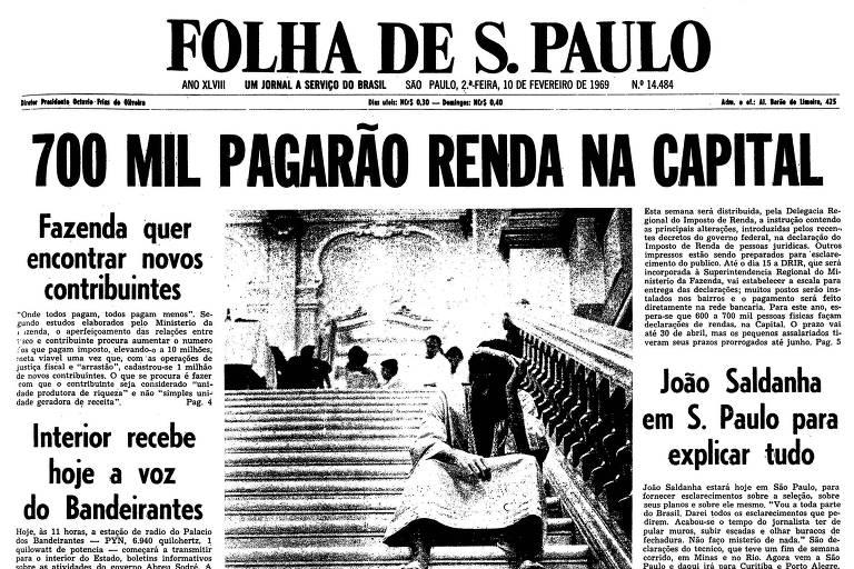Primeira página da Folha de S.Paulo de 10 de fevereiro de 1969
