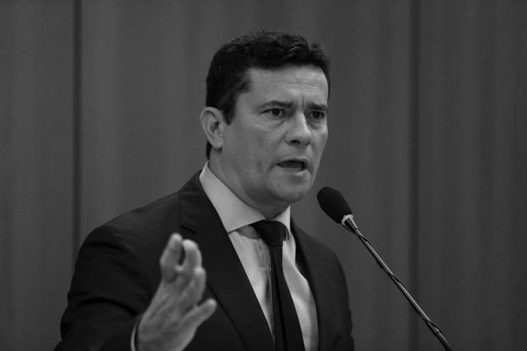 O ministro da Justiça e Segurança Pública, Sérgio Moro, durante coletiva de imprensa para apresentar pacote de propostas para a segurança e contra a corrupção