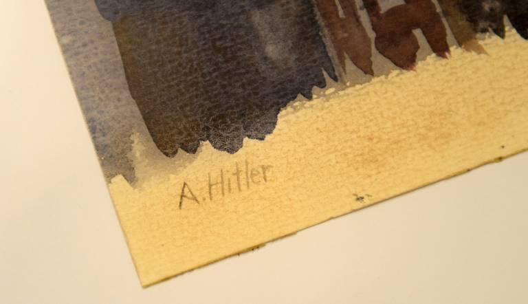 Assinatura de Hitler no quadro