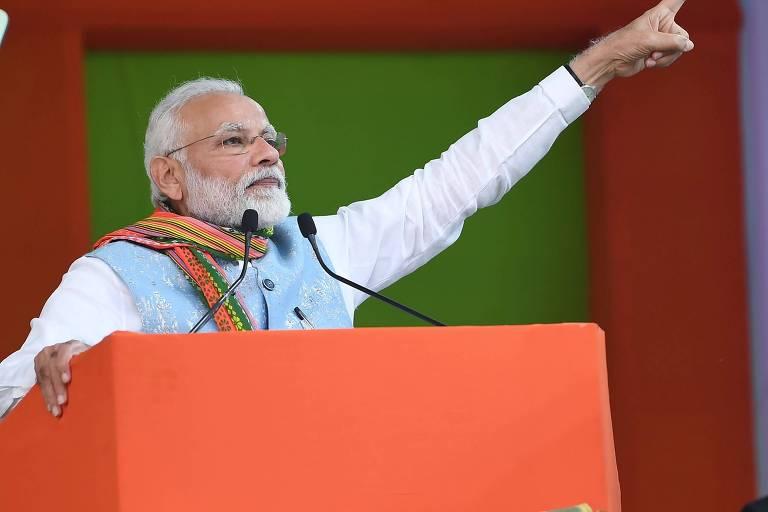 Primeiro-ministro da Índia, Narendra Modi, discursa em inauguração de obra em Agartala, Tripura