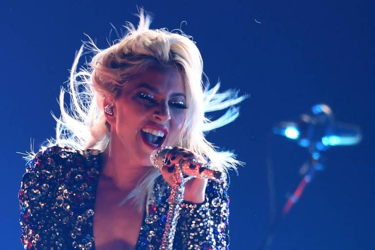 A cantora e compositora norte-americana Lady Gaga se apresenta na Grammy 2019