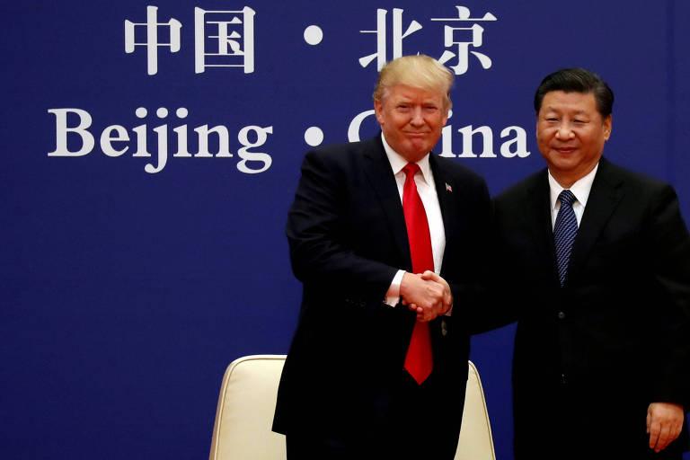 Presidente dos EUA, Donald Trump, e o presidente da China, Xi Jinping