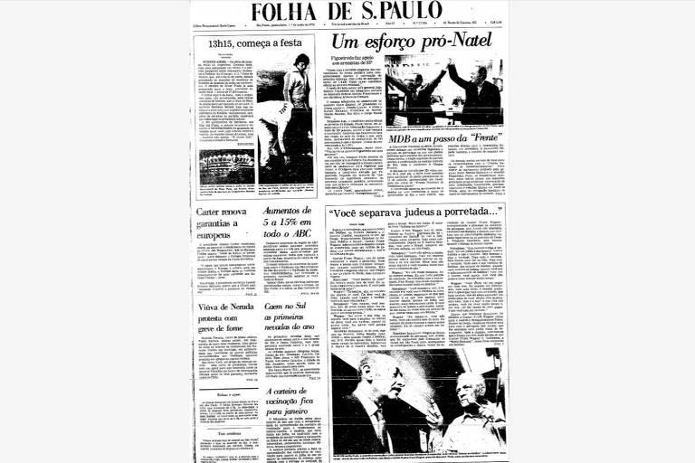 Reprodução de capa de jornal em preto e branco