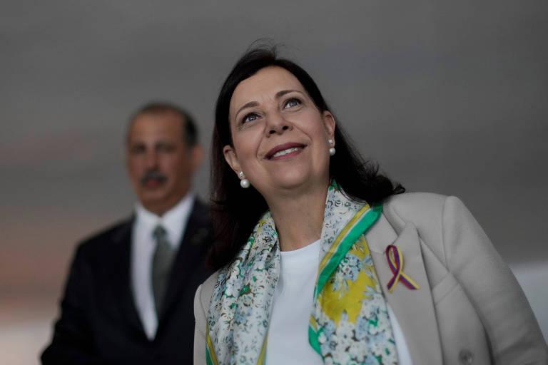 Representante da oposição venezuelana Maria Teresa Belandria após reunião com o chanceler brasileiro, em Brasília