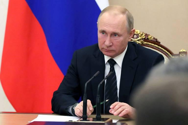 O presidente russo, Vladimir Putin, durante reunião do Conselho de Segurança da Rússia em Moscou