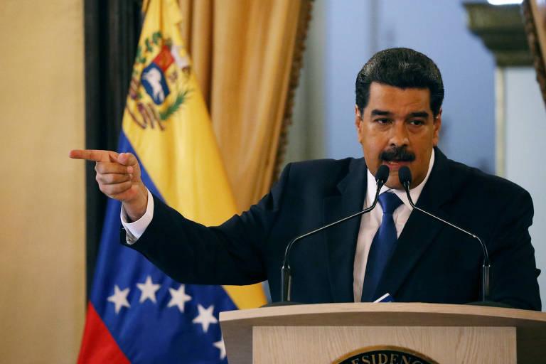 O ditador Nicolás Maduro no Palácio Miraflores, em Caracas