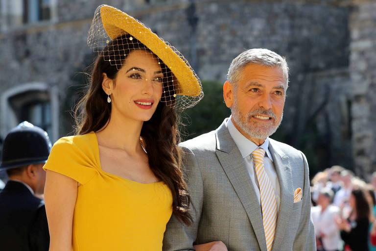 Amal e George Clooney no casamento de Meghan Markle e príncipe Harry, em 2018