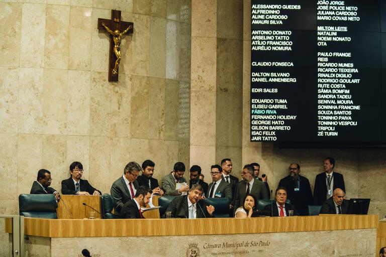 Câmara Municipal de São Paulo durante segunda votação da reforma da previdência dos servidores municipais no final de 2018