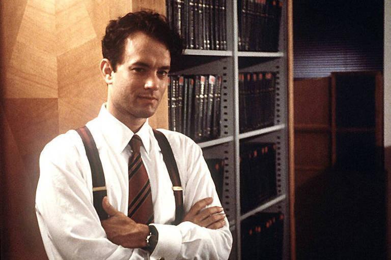 """O ator Tom Hanks em cena do filme """"Filadélfia"""""""