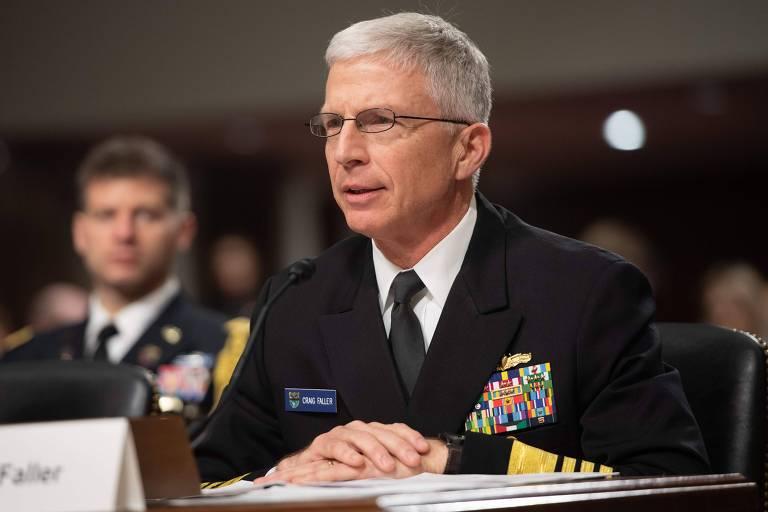 Chefe do Comando Sul dos EUA, o almirante Craig Faller, depõe no Senado americano, em Washington