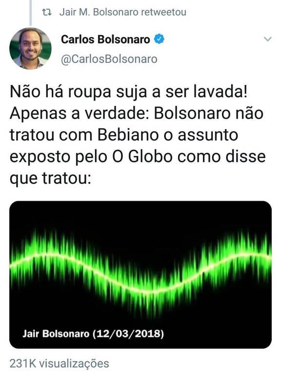 Reprodução de retuíte de Jair Bolsonaro; ele compartilhou publicação do filho Carlos com áudio em que nega conversa com ministro.
