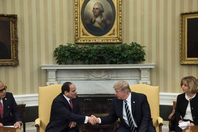 Sisi é recebido pelo presidente dos EUA, Donald Trump, na Casa Branca, em 2017