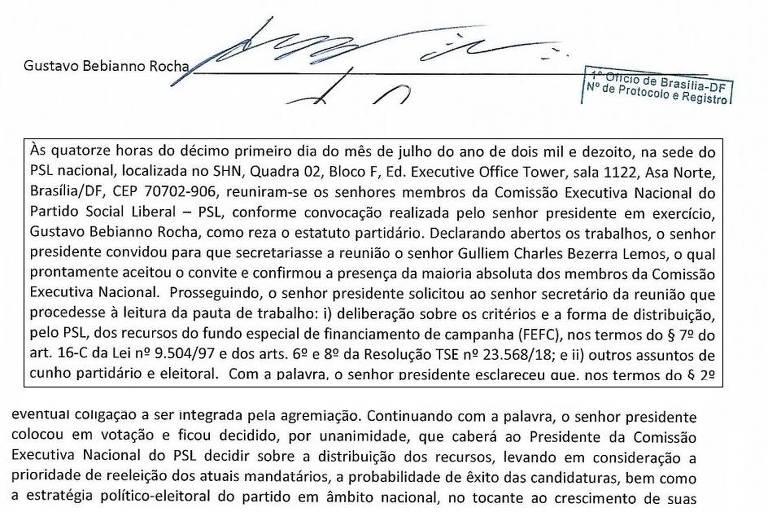 Trechos de ata do PSL antes da campanha de 2018 que contradiz Bebianno e o aponta como responsável por repasses a candidatos nos estados