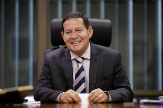 Brazil's Vice President Hamilton Mourao smiles during an interview with Reuters in Brasilia