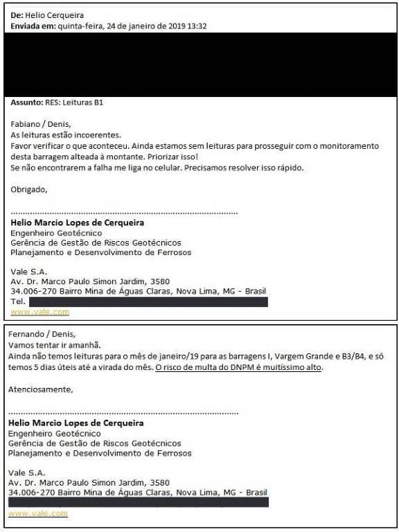 E-mails enviados por investigado um dia antes de rompimento da barragem alertam que leituras estavam com falhas