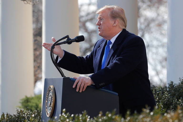 O presidente Donald Trump durante discurso, em Washington, no qual declarou estado de emergência