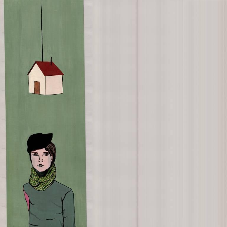 mulher sob casa com fundo verde