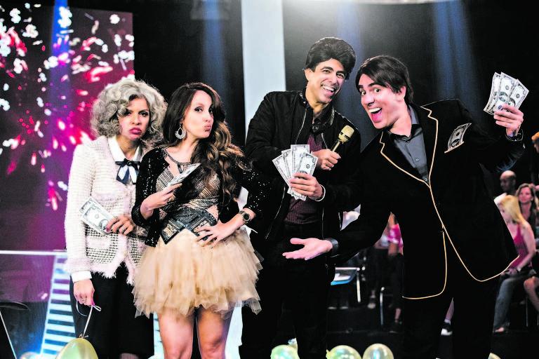 Renata Gaspar, Luana Martau, Marcius Melhem e Marcelo Adnet, em cena de 'Tá no Ar'