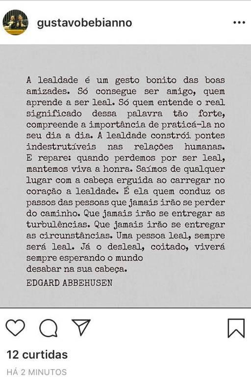Publicação em rede social do ministro Gustavo Bebianno
