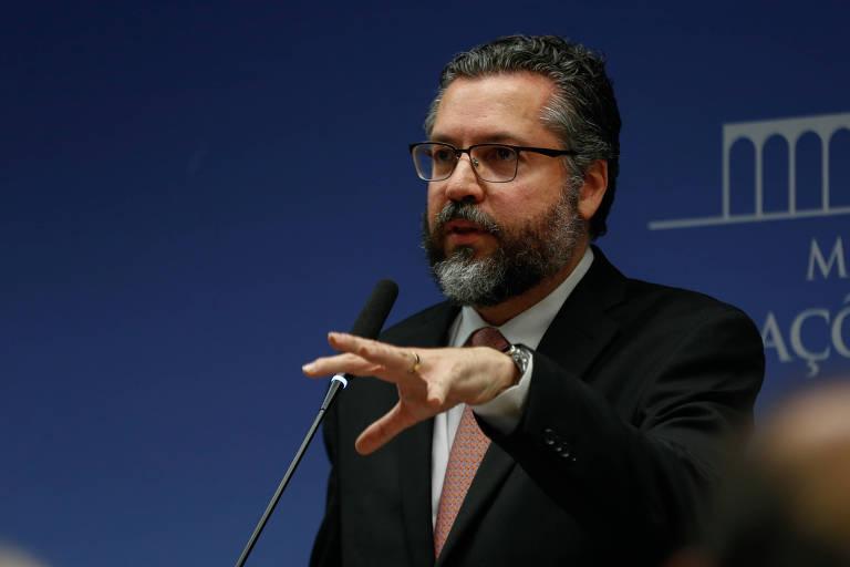 O ministro das Relações Exteriores, Ernesto Araújo, durante entrevista coletiva em Brasília 0