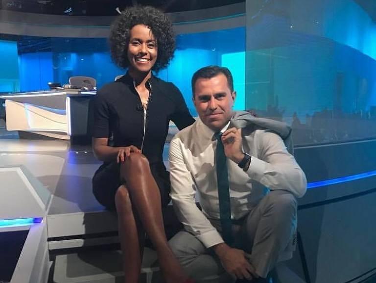 Maju Coutinho e Rodrigo Bocardi na estreia da jornalista na bancada do JN