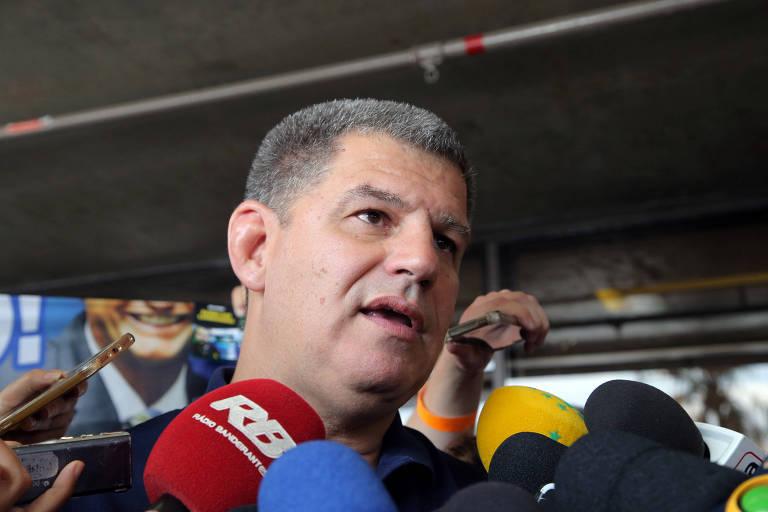O então presidente do PSL Gustavo Bebianno dá entrevista durante a campanha presidencial de 2018