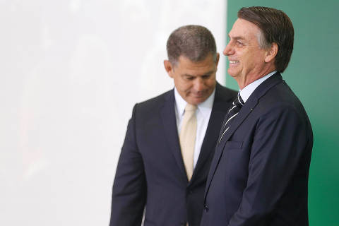 Brazil's new President Jair Bolsonaro attends the handover ceremony for Government Secretary, Gustavo Bebianno at the planalto Palace in Brasilia, Brazil January 2, 2019.  Picture taken January 2, 2019. REUTERS/Adriano Machado ORG XMIT: AHM01