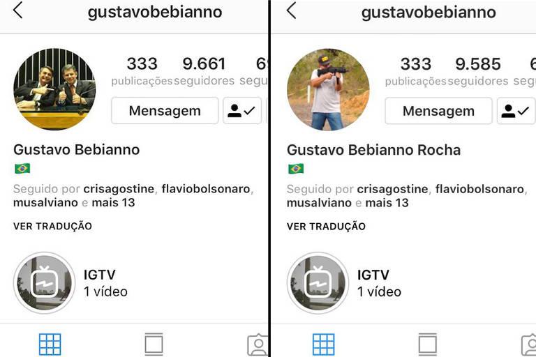 Antes e depois , o ex-ministro da Secretaria-Geral da Presidência Gustavo Bebianno retirou a foto que mantinha com Bolsonaro (esq.) de seu perfil no Instagram. No lugar, colocou uma foto carregando uma metralhadora (dir.)