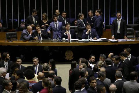 BRASILIA, DF,  BRASIL,  12-02-2019, 18h00: Plenário da câmara durante votação de projeto de lei que tipifica o crime de terrorismo. O presidente da camara deputado Rodrigo Maia (DEM-RJ) preside os trabalhos e o relator da matéria é o deputado Efraim Filho (DEM-PB). (Foto: Pedro Ladeira/Folhapress, PODER)