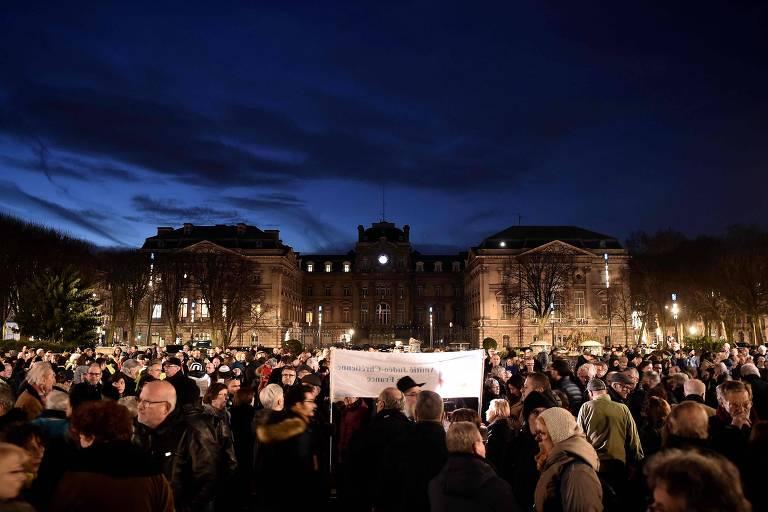 Manifestações na França contra o antissemitismo em 2019