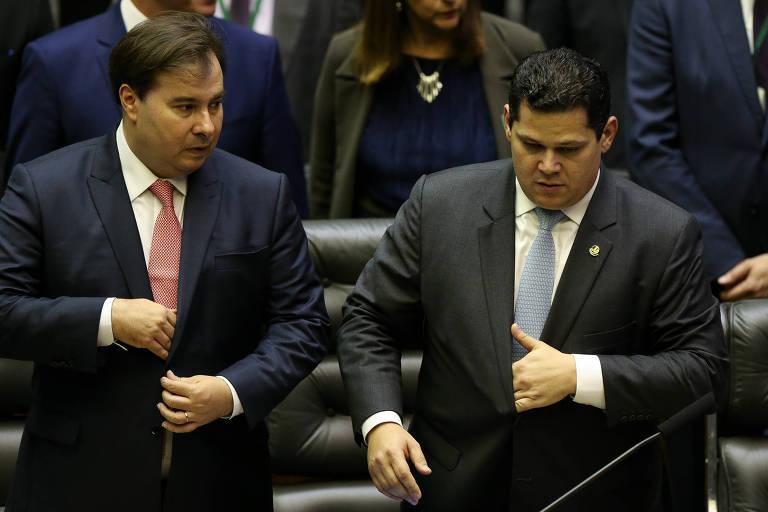 Presidente da Câmara, Rodrigo Maia (DEM-RJ), e o presidente do Senado, Davi Alcolumbre (DEM-AP)